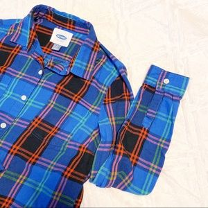 Old Navy Flannel Button Up Blue Pink Red Women's